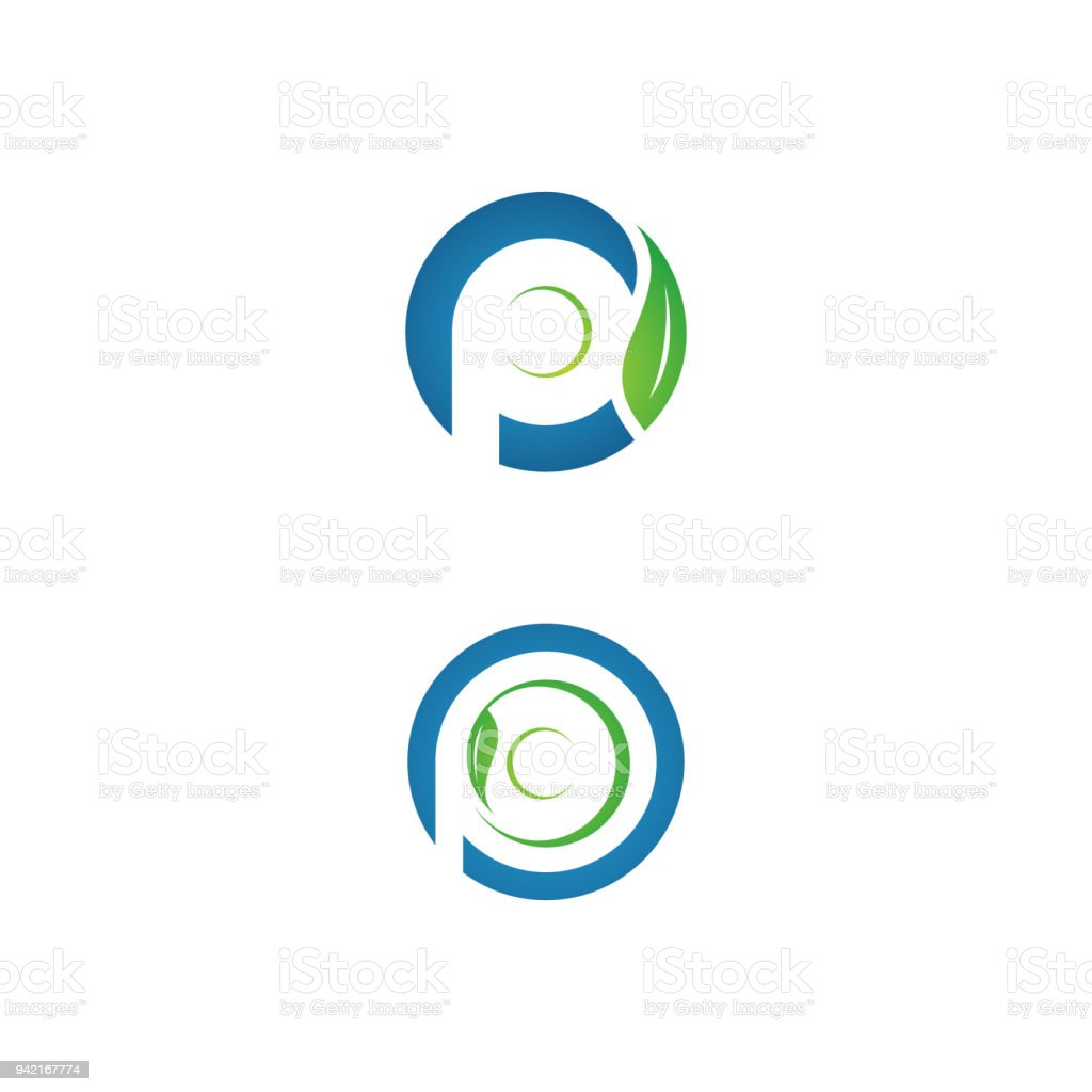 Business Corporate Letter P Eco Plate Washing With Leaf Stock Vector