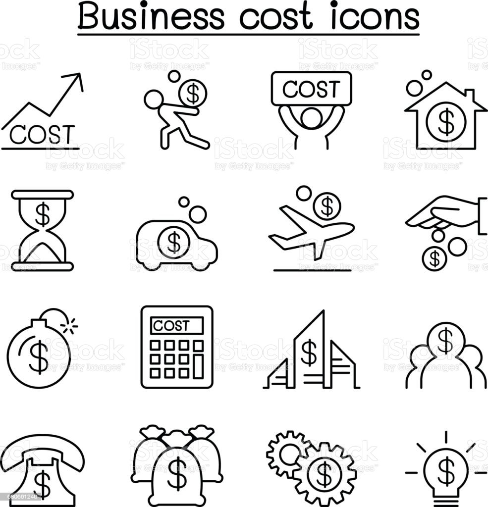 Business cost icon set in thin line style vector art illustration