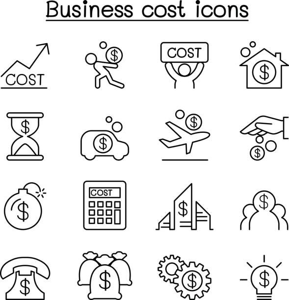 business cost icon set in thin line style - bankruptcy stock illustrations, clip art, cartoons, & icons