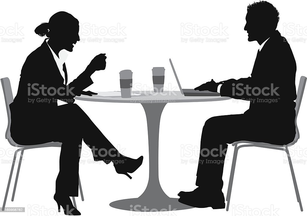 Business couple at dinner table vector art illustration