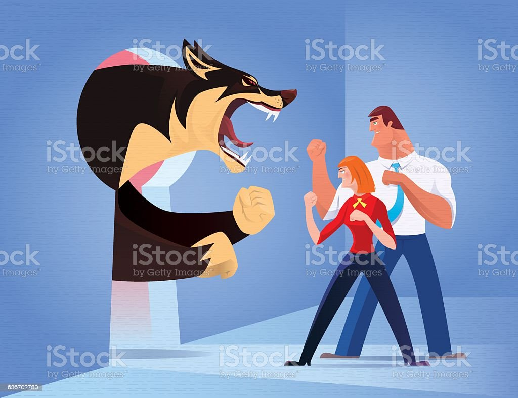 business couple fighting against angry wolf vector art illustration