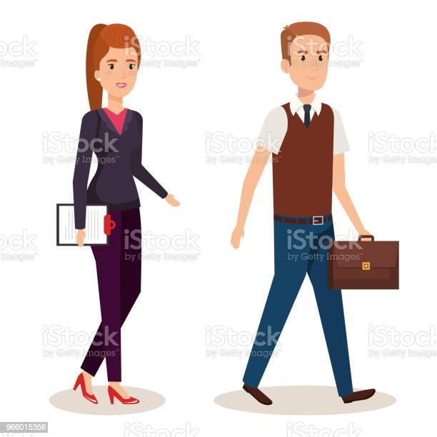 Business Couple Isometric Avatars Stock Illustration - Download Image Now