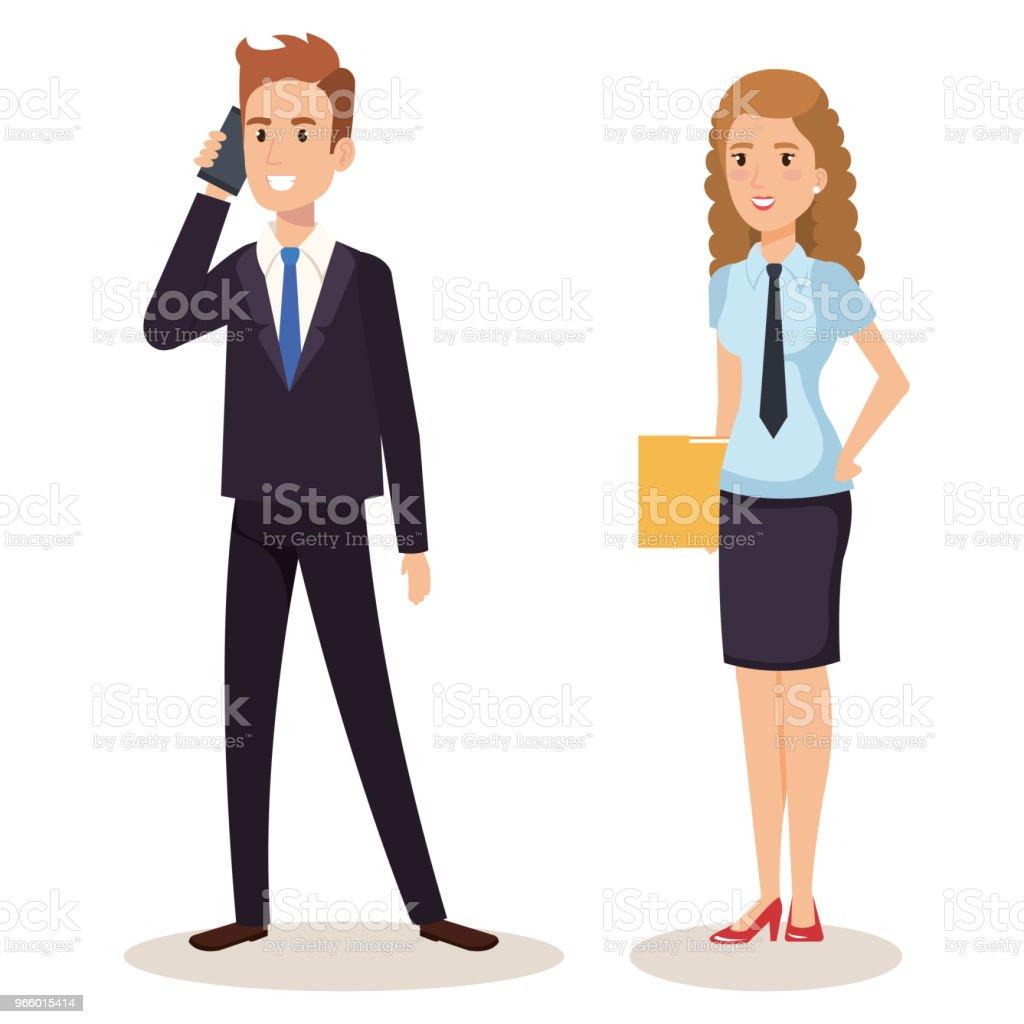 business couple isometric avatars - Royalty-free A usar um telefone arte vetorial