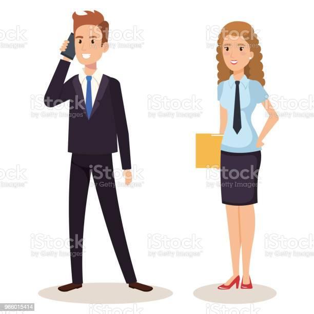 Business Couple Isometric Avatars - Arte vetorial de stock e mais imagens de A usar um telefone