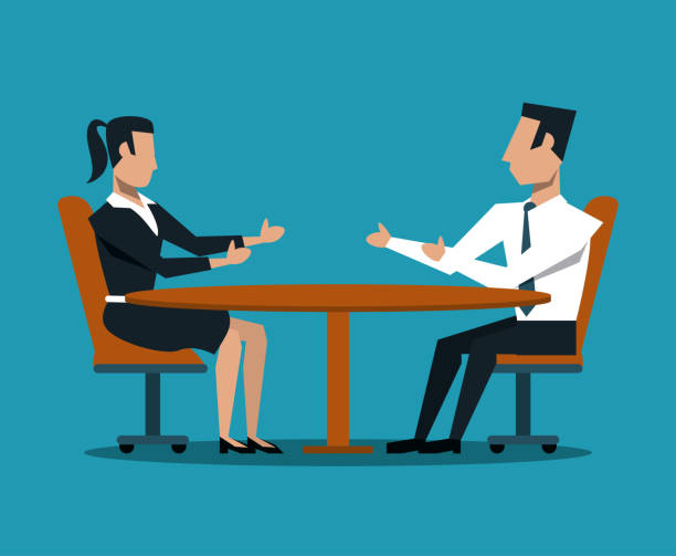 business couple teamwork - two people talking stock illustrations, clip art, cartoons, & icons