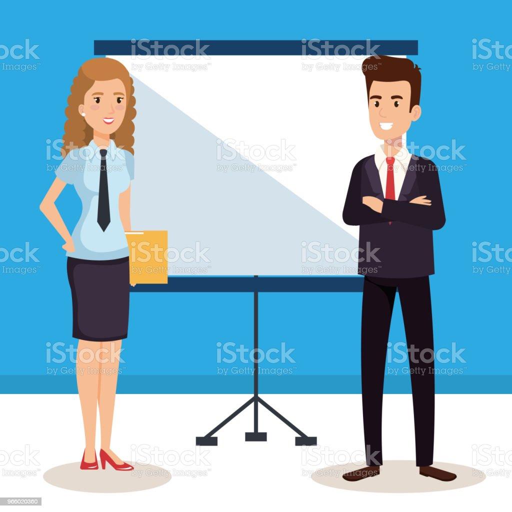 Business par med papp utbildning avatarer tecken - Royaltyfri Allegorisk målning vektorgrafik
