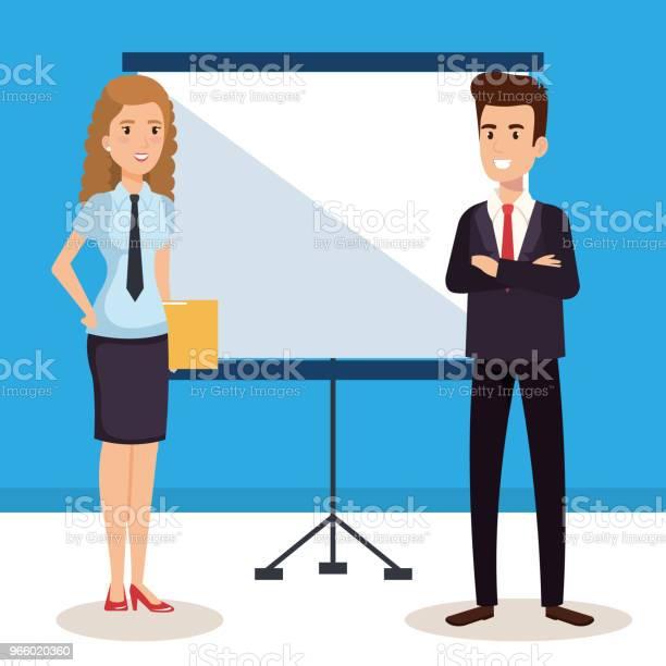 Business Par Med Papp Utbildning Avatarer Tecken-vektorgrafik och fler bilder på Allegorisk målning