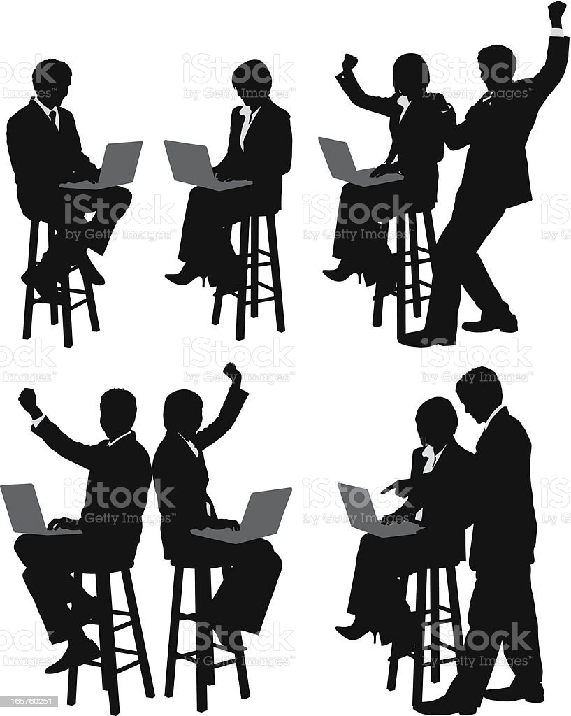 Business couple working on laptops royalty-free business couple working on laptops stock vector art & more images of adults only