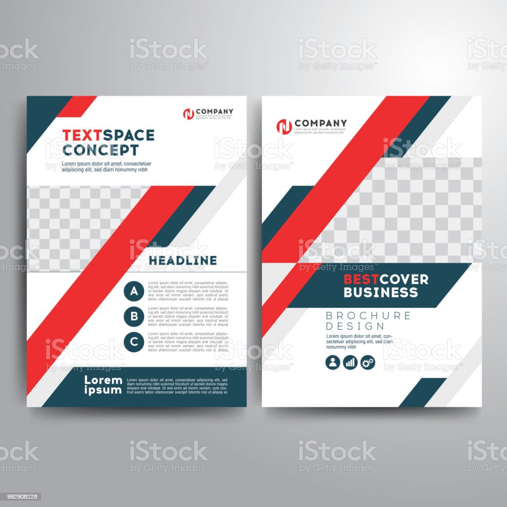 business cover brochure template blue red gray geometric shapes
