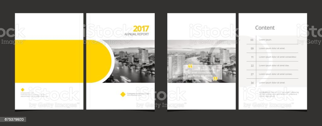 Business cover design and content page template for corporate business annual report or catalog, magazine, flyer, booklet, brochure. A4 cover vector EPS-10 sample image with Gradient Mesh.