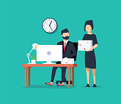 Business coworkers avatar. Businessman hardworking and businesswoman holding stack of papers. Business working brainstorming process hardworking procession generation concept vector illustration.