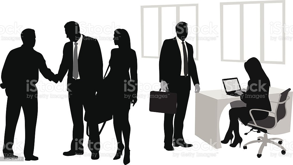 Business Co-Workers Vector Silhouette royalty-free business coworkers vector silhouette stock vector art & more images of adult