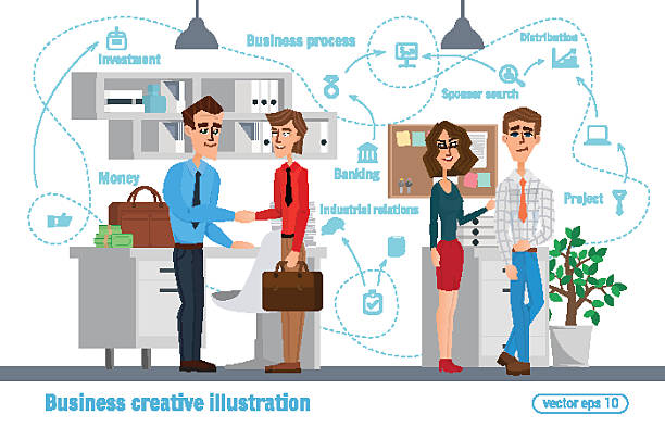 Business creative illustration. Women man. Businessman character office worker professional vector art illustration