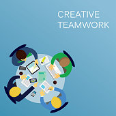 Vector illustration. Business concept. Creative teamwork design, businessman working together