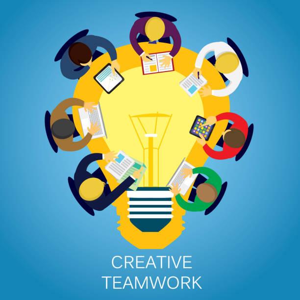 illustrazioni stock, clip art, cartoni animati e icone di tendenza di business creative teamwork - business meeting, table view from above