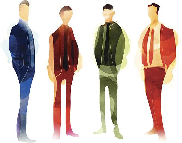 ilustraciones, imágenes clip art, dibujos animados e iconos de stock de equipo de negocios - moda de hombre