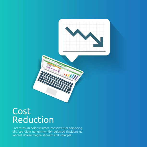 business crisis concept. money fall down with arrow decrease symbol. economy stretching rising drop, global lost bankrupt. loss of income with finance spreadsheet report on laptop screen. - lost stock illustrations