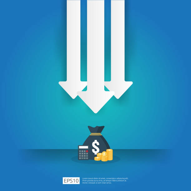 business crisis concept. money fall down with arrow decrease symbol. economy stretching rising drop, global lost bankrupt. cost declining reduction or loss of income with stack pile dollar coins - lost stock illustrations