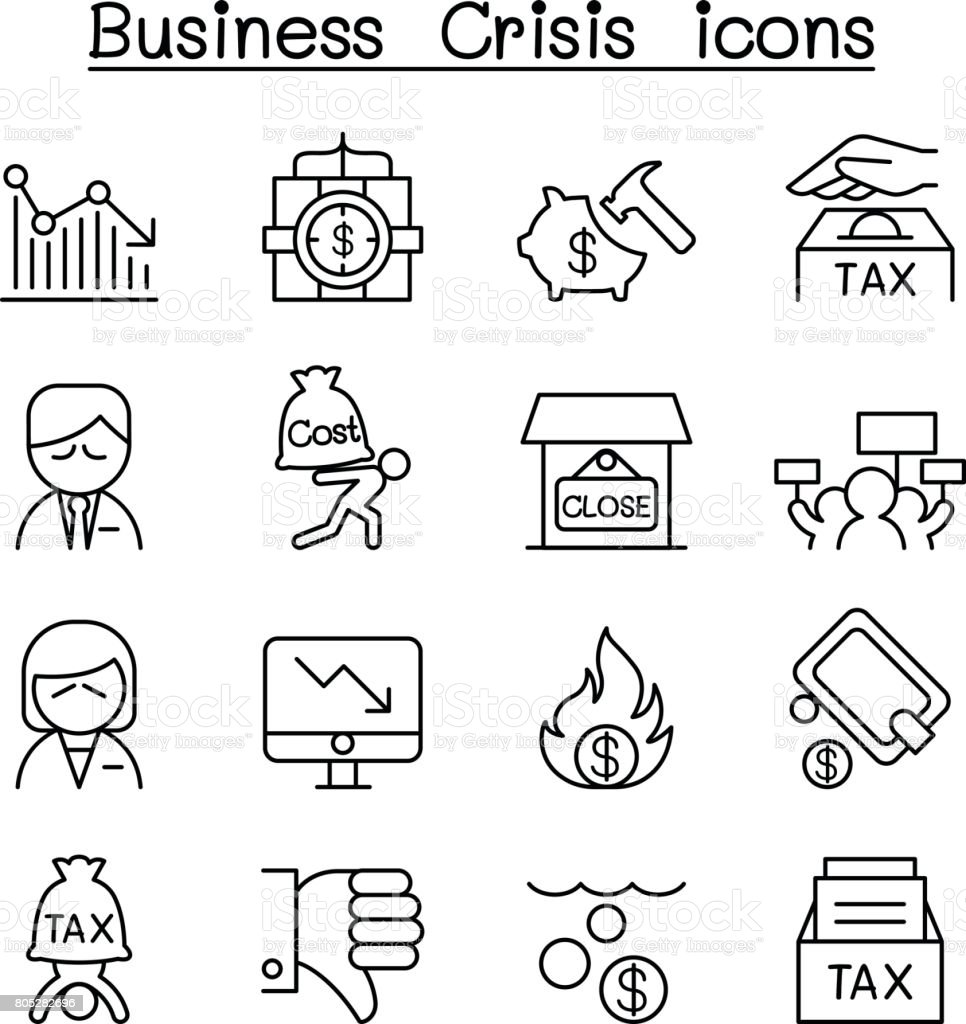 Business Crisis, Debt, Cost, Tax icon set in thin line style vector art illustration