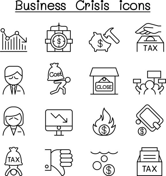 business crisis, debt, cost, tax icon set in thin line style - bankruptcy stock illustrations, clip art, cartoons, & icons