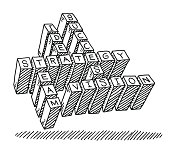 Hand-drawn vector drawing of a Business Crosswords Text. Black-and-White sketch on a transparent background (.eps-file). Included files are EPS (v10) and Hi-Res JPG.