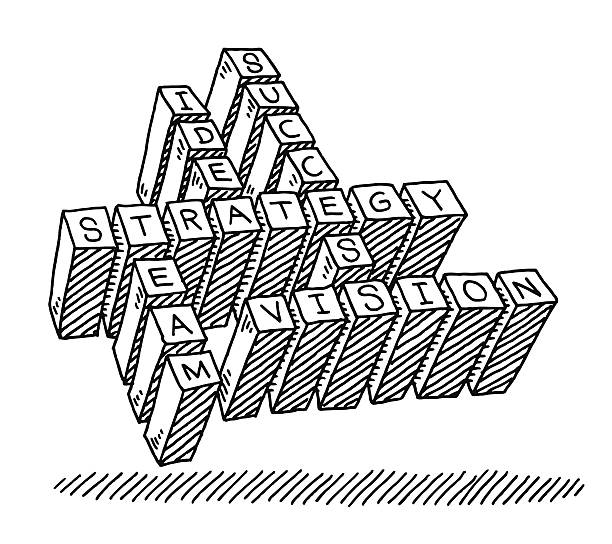 Business Crosswords Text Drawing Hand-drawn vector drawing of a Business Crosswords Text. Black-and-White sketch on a transparent background (.eps-file). Included files are EPS (v10) and Hi-Res JPG. game stock illustrations