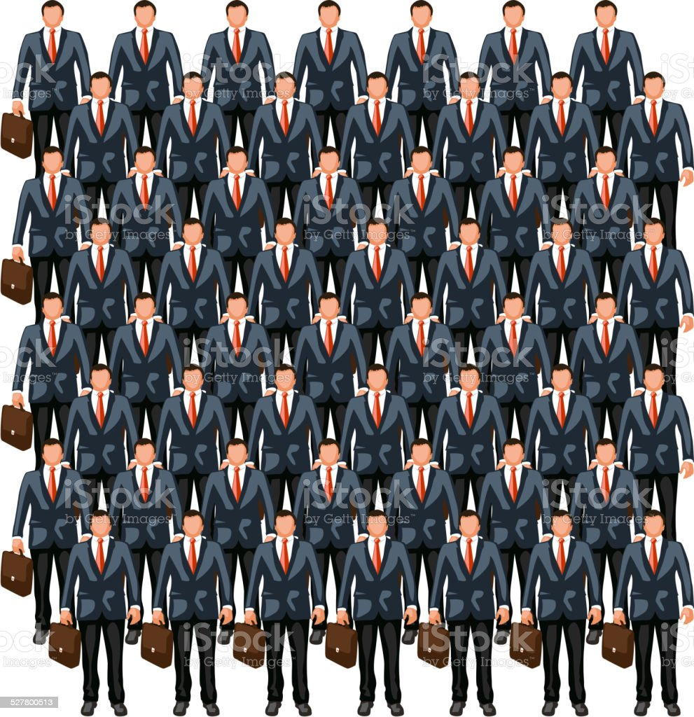 business crowd 7 vector art illustration