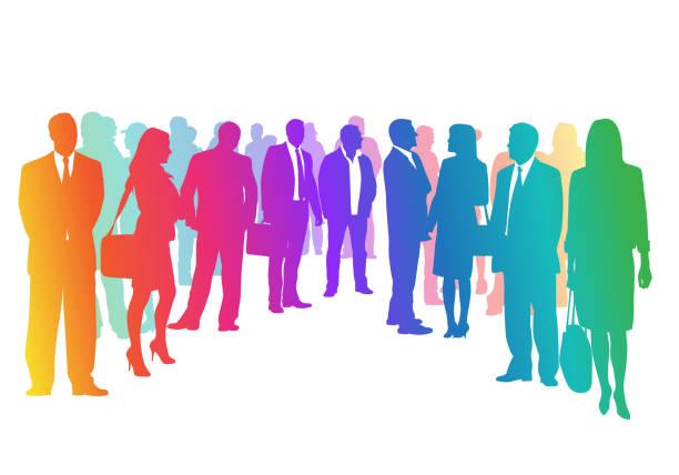 Business Crowd Circle Regenbogen – Vektorgrafik