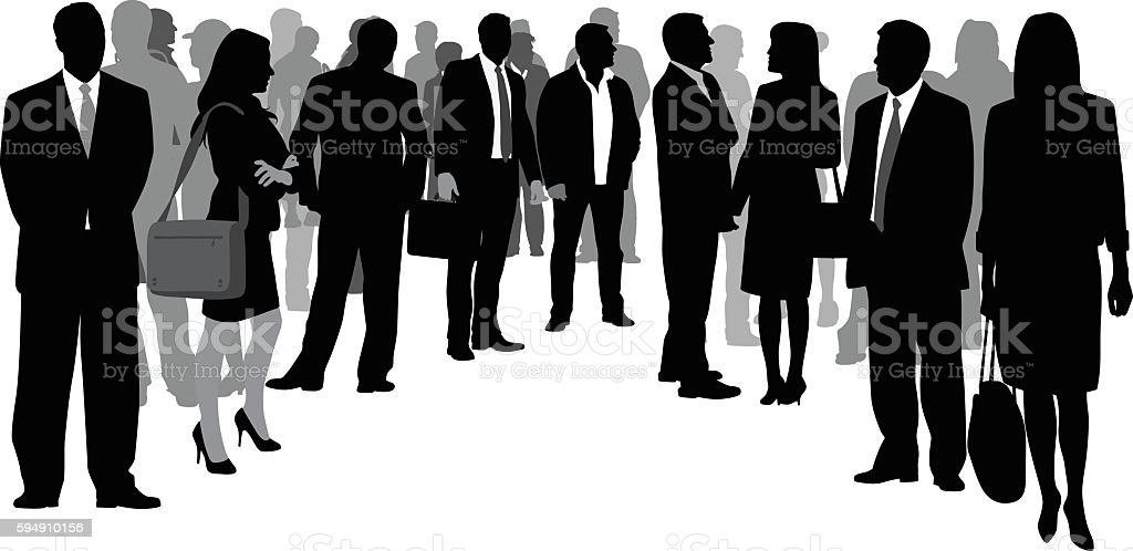 Business Crowd Circle vector art illustration