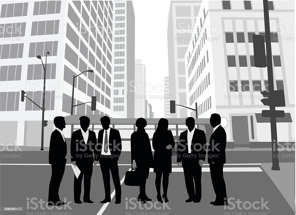 Business Crowd Downtown Core vector art illustration
