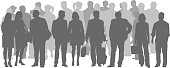 A vector silhouette illustration of a crowded crowd of people in grey including business men and women, mature adults, and young adults.