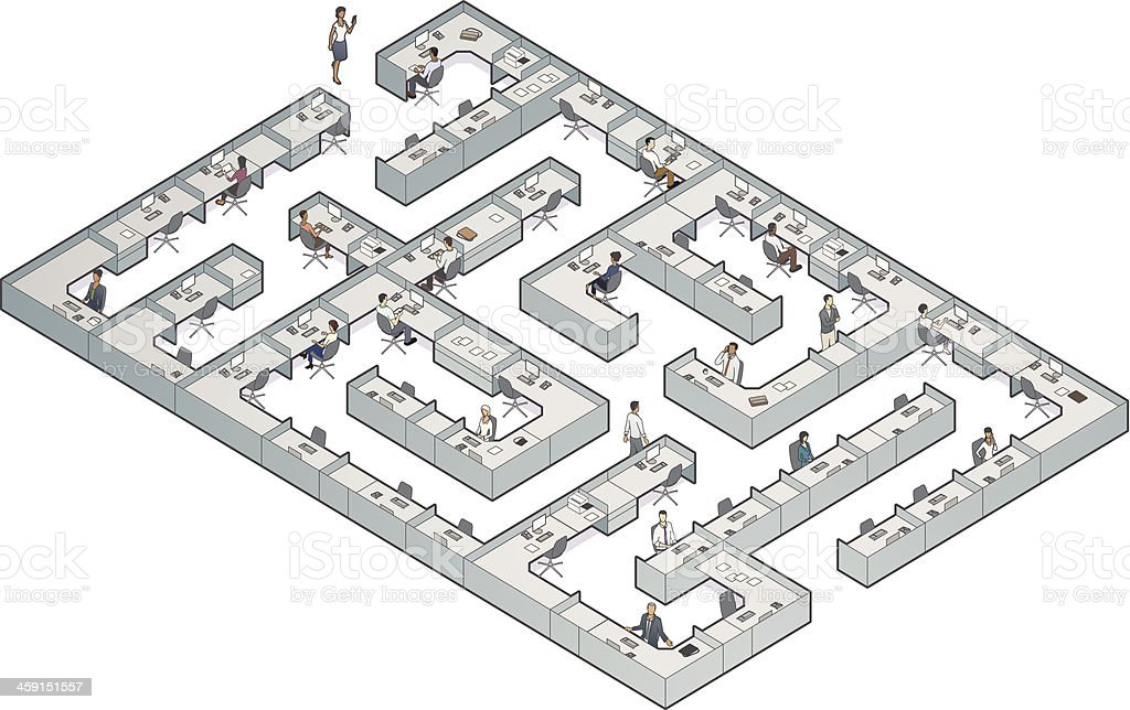 Business Cubicle Maze vector art illustration