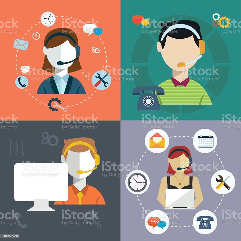 Business customer care service concept vector art illustration