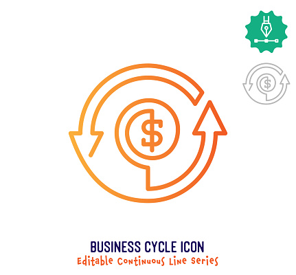 Business Cycle Continuous Line Editable Icon