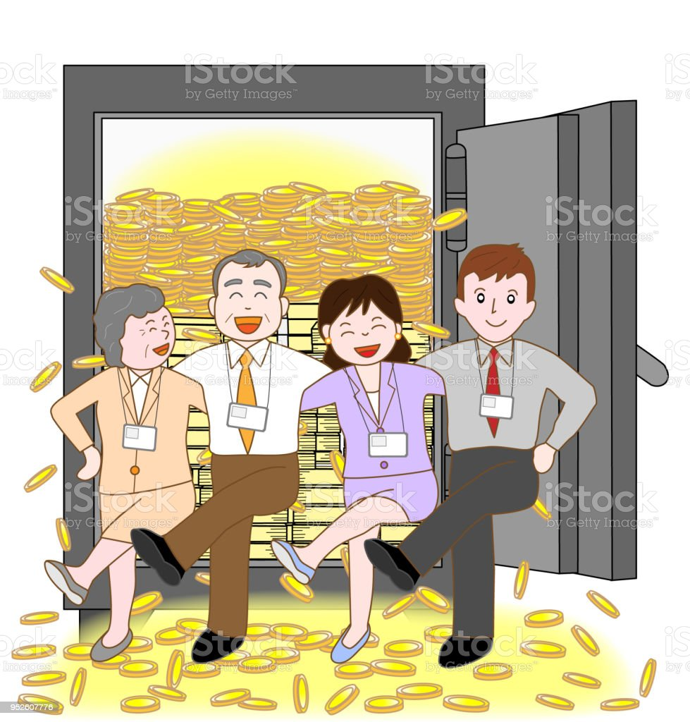 Businessman\'s teamwork. My job was successful and I got rich....