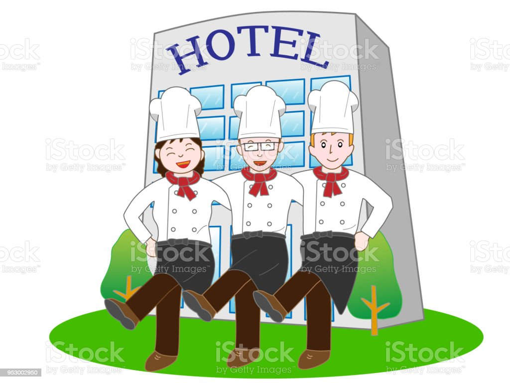 Team work of employees working at the hotel. Hotel man and cook dance.