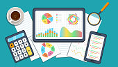 istock Business data analysis financial growth concept. Market research, data analysis, statistics graph chart report, business analysis, planning. Digital marketing strategy 1253880232