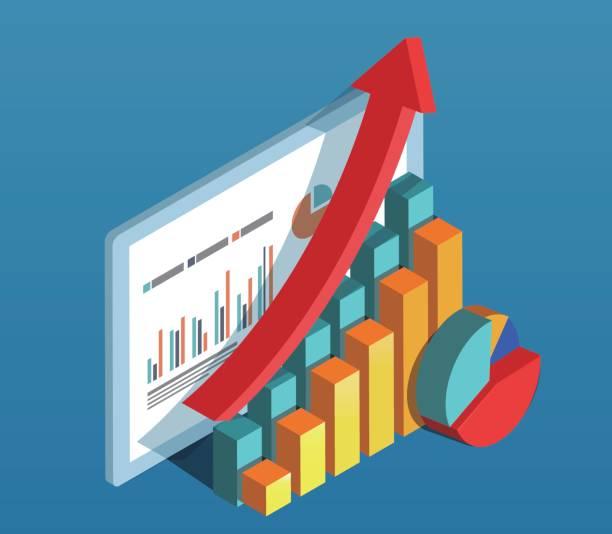 ビジネス データのダイアグラム - アイソメトリック点のイラスト素材/クリップアート素材/マンガ素材/アイコン素材