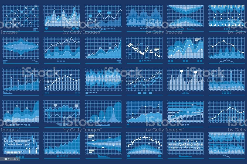 Business Data Financial Charts Blue Banner vector art illustration