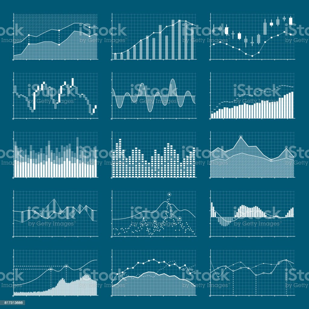 Business data financial charts. Stock analysis graphics. Growing and falling market graphs vector set vector art illustration