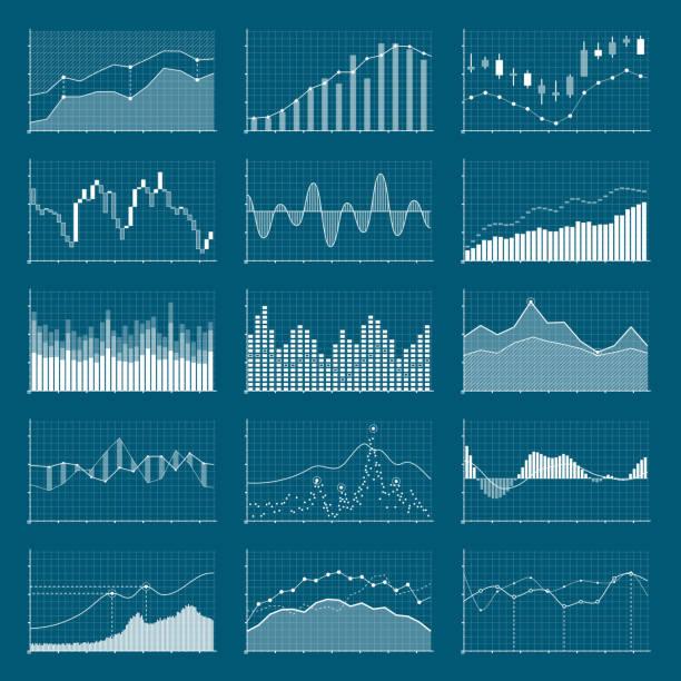 geschäft daten finanz-charts. aktienanalyse grafiken. steigenden und fallenden markt graphen vektor-satz - tabelle stock-grafiken, -clipart, -cartoons und -symbole