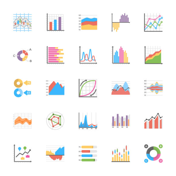 Business Data Graph and Charts Icon Collection The business data graphs pack is offered to represent numerous business graphs and charts for data manipulation and planning, The icons are designed with enticing graphics and by keeping need of the time in mind. Have this pack to market yourself in better way and use them for wide ranging respective projects. gantt chart stock illustrations