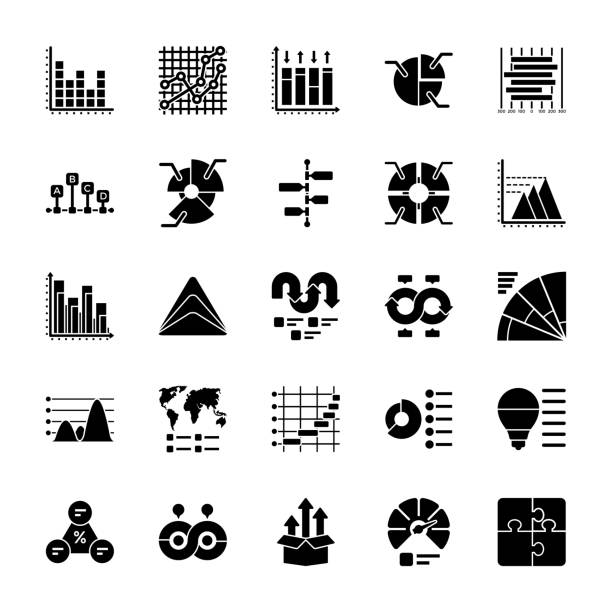 Business Data Graph and Charts Icon Pack The business data graphs pack is offered to represent numerous business graphs and charts for data manipulation and planning, The icons are designed with enticing graphics and by keeping need of the time in mind. Have this pack to market yourself in better way and use them for wide ranging respective projects. gantt chart stock illustrations