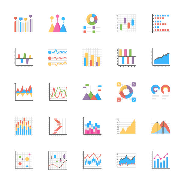 Business Data Graph and Charts Icon Set The business data graphs pack is offered to represent numerous business graphs and charts for data manipulation and planning, The icons are designed with enticing graphics and by keeping need of the time in mind. Have this pack to market yourself in better way and use them for wide ranging respective projects. gantt chart stock illustrations