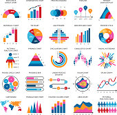 Business data graphs. Vector financial and marketing charts