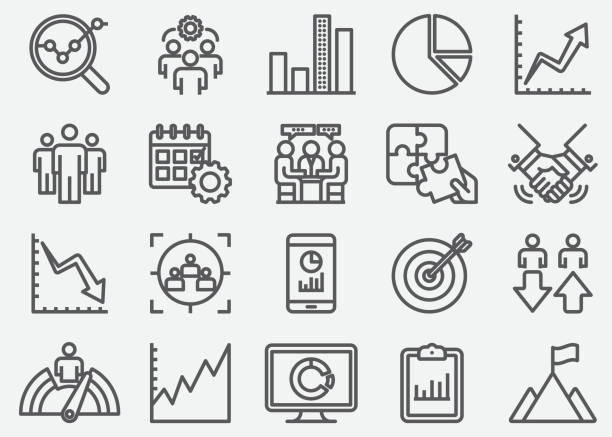 Business Data Line Icons Business Data Line Icons bundle stock illustrations