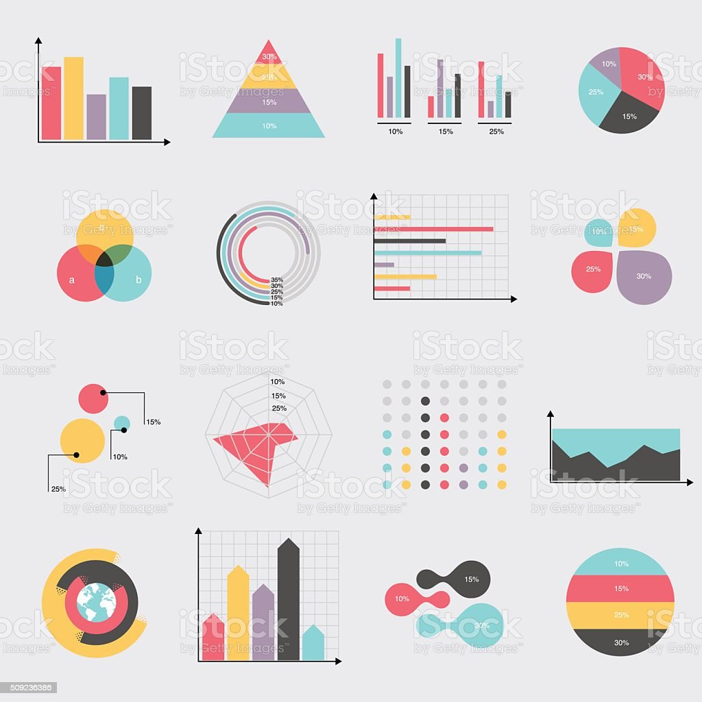 Business data market elements dot bar pie charts diagrams vector art illustration
