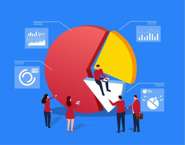 stockillustraties, clipart, cartoons en iconen met bedrijfsstatistieken gegevens en analyse - woman very rich