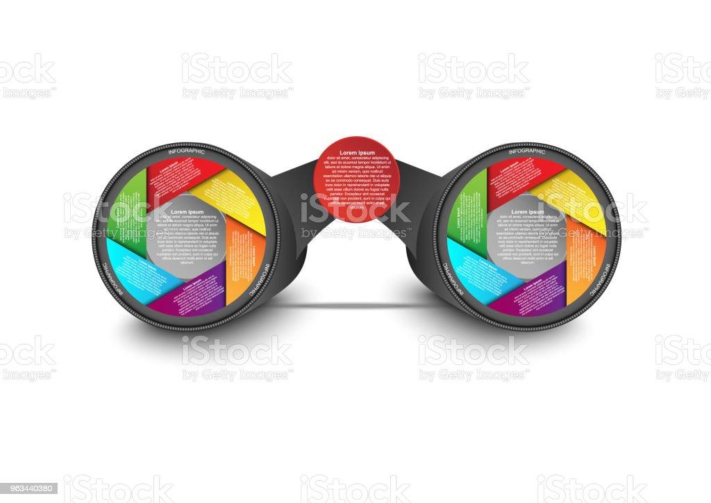 İş veri görselleştirme. Dürbün lens şekli Infographic kavramı ve fikir. Vektör iş tanıtımı için şablon. Infographic rapor için yaratıcı kavram. Vektör EPS10 - Royalty-free Akış Çizelgesi Vector Art