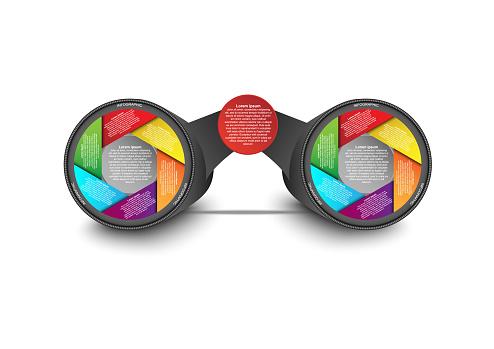 İş Veri Görselleştirme Dürbün Lens Şekli Infographic Kavramı Ve Fikir Vektör Iş Tanıtımı Için Şablon Infographic Rapor Için Yaratıcı Kavram Vektör Eps10 Stok Vektör Sanatı & Akış Çizelgesi'nin Daha Fazla Görseli